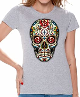 Awkward Styles Cow Skull T Shirts for Women Candy Skull Jolly Roger Skull Shirts