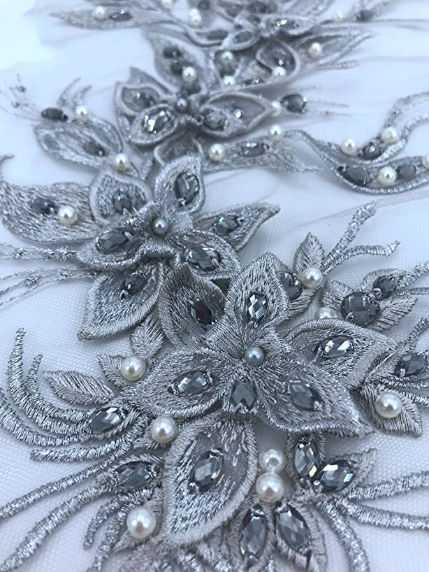 Large Three-Dimensional Applique lace with Beads Hand Sewing Corrects 45x20cm for Rhinestone Dress Trim Accessory