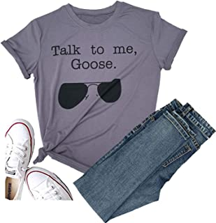 Women Talk to Me Goose Sunglasses Short Sleeve Graphic Tees Funny T Shirts Casual Summer Halloween Tops