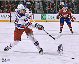 """Mika Zibanejad New York Rangers Autographed 16"""" x 20"""" White Jersey Shooting Photograph - Fanatics Authentic Certified"""