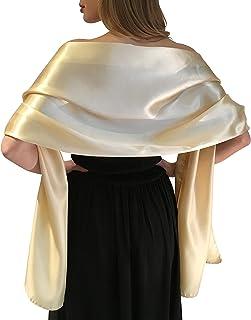 Central Chic Satin Braut -Verpackungs Stola Schal Pashmina Schal Hochzeiten Brides Brautjungfern in Elfenbein Weiß Schwarz Blau Silber Gold Rosa Grau Grün