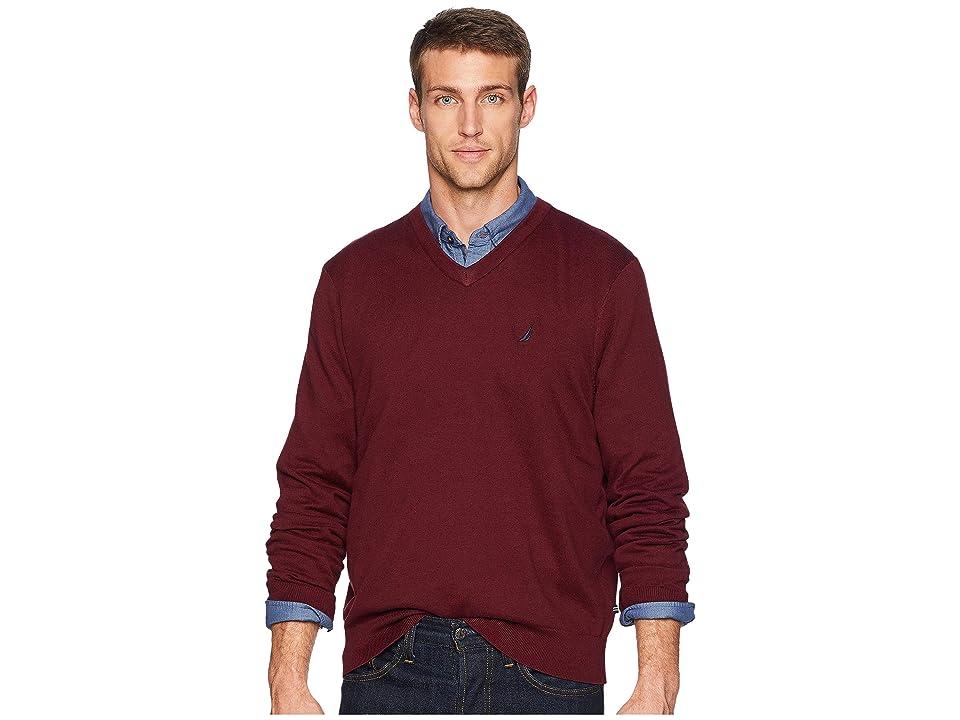 Nautica 12 Gauge Jersey V-Neck Sweater (Royal Burgundy) Men