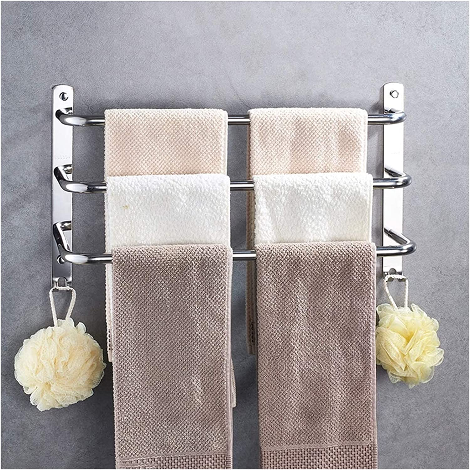 Towel Racks Rail Cash special price 3-Tier Bath with Hooks 304 Max 42% OFF SUS Stainless
