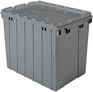 Akro-Mils 39170 Industrial Plastic Storage Tote with Hinged Attached Lid, (21-Inch L by 15-Inch W by 17-Inch H), Gray, (3-Pack)