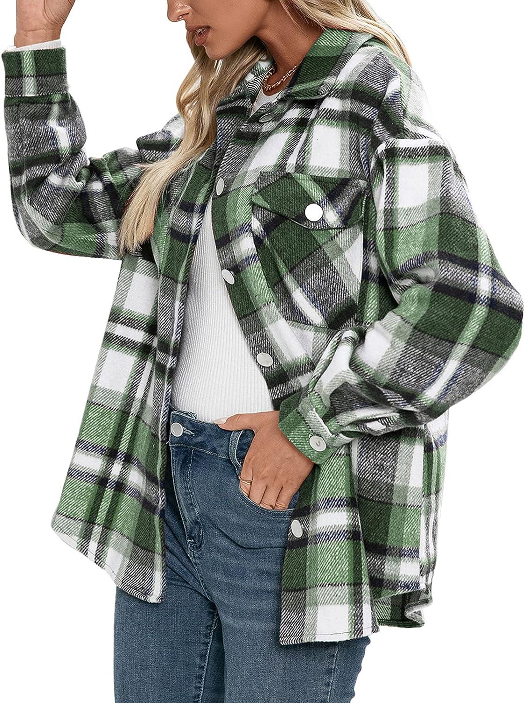 Womens Color Block Plaid Shirts Down Flannel 70% OFF Outlet Quantity limited Button Cardigan Lon