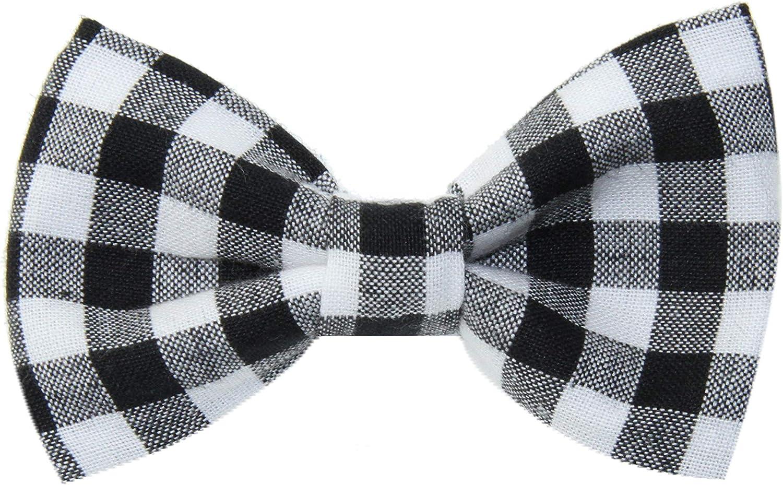 Boys Black White Buffalo Plaid Clip On Cotton Bow Tie