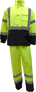 RK Safety Class 3 Rain suit, Jacket, Pants High Visibility Reflective Black Bottom RW-CLA3-LM11 (Large, Lime)