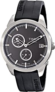 Men's T069.439.47.061.00 'T Sport' Black Dial Black Rubber Strap Titanium GMT Watch T069.439.47.061.00
