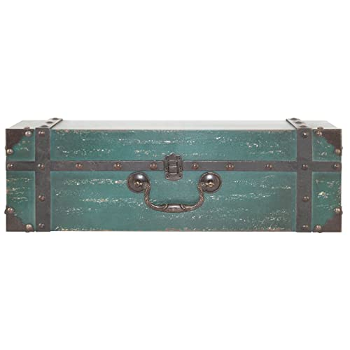 18 Inch MCS 45887 Vintage Suitcase Wall Shelf in Deep Aqua Finish 18