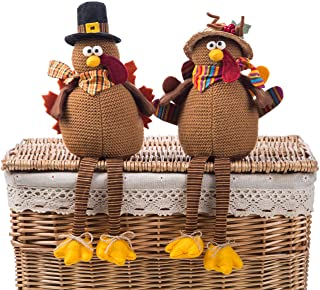 Ogrmar 2 Pack Stuffed Turkey Couple Doll Thanksgiving Tabletop Decoration Exquisite Handmade Turkey Doll Kit for Autumn Fa...