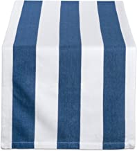 DII 100% Cotton, Machine Washable, Classic Table Runner for Dinner Parties, Events, Decor 18x108 - Navy & White Cabana Stripe