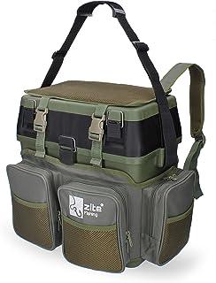 Zite Fishing Sac à Dos Multifonctions avec siège - Comprend 4 boîtes en Plastique dans Le Couvercle - Idéal pour Ranger Le...