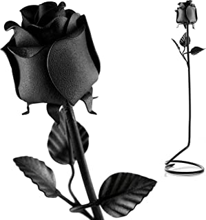 Hand Forged Iron Rose - Unique 6th Wedding 100% Wrought Iron Standing Flower in Black