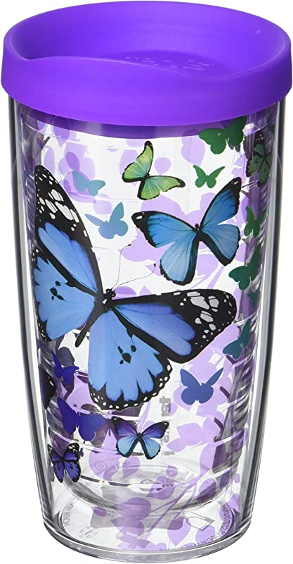 Tervis 1137325 Blue Endless Butterfly Insulated Tumbler With Wrap And Purple Lid 16oz Clear