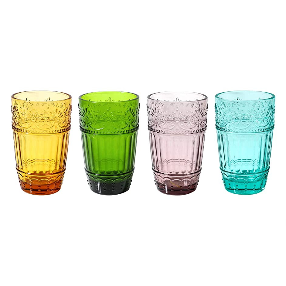 Colored Water Glasses,Embossed Design Glass Tumblers Set,12 OZ of 4 Colors Set