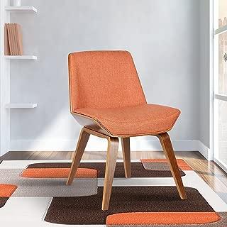 Armen Living Agi Dining Chair in Orange Fabric and Walnut Wood Finish