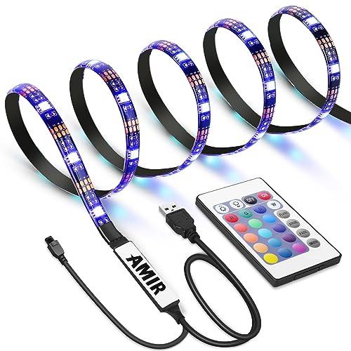 AMIR Ruban à LED RGB pour HDTV, Rétroéclairage TV, 30 LED 1M, USB Powered Imperméable Flexible Rétro-éclairage, Lampe à Rayons LED Multicolores avec Télécommande