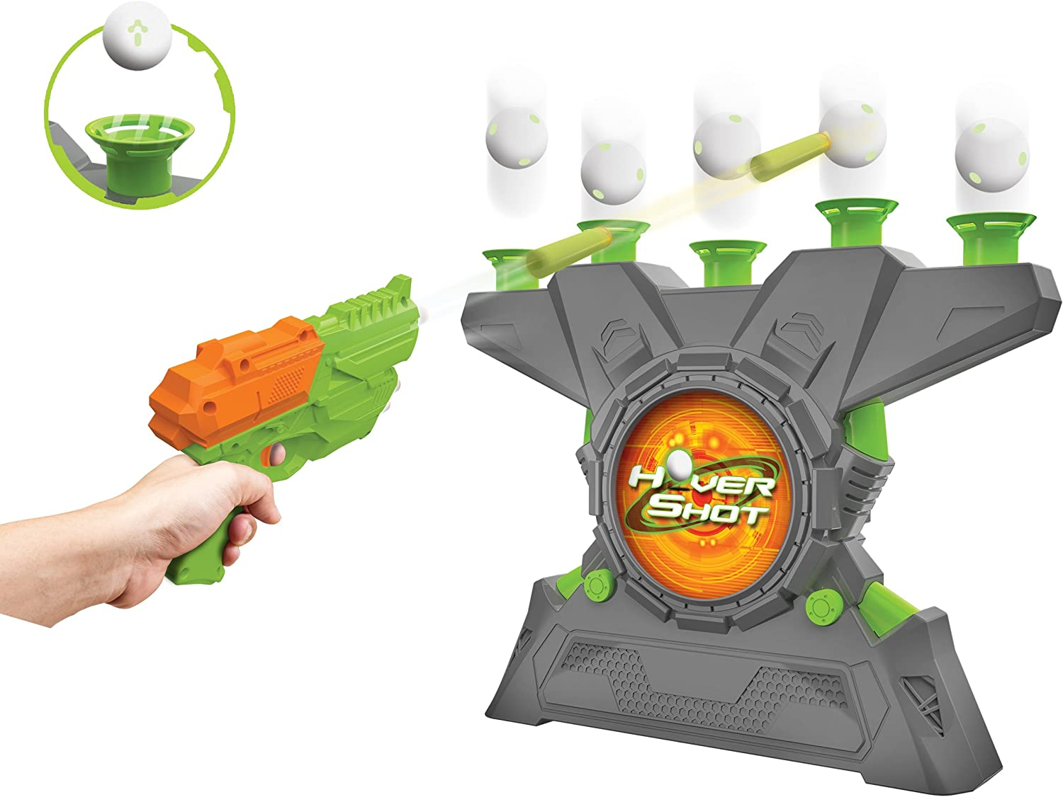 Merchant Ambassador Hover Shot 2.0 Game  air Powered Blaster, Foam Darts with Glow in The Dark Targets