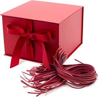 Hallmark 7 Large Gift Box with Fill (Red) for Birthdays, Christmas, Bridal Showers, Weddings, Baby Showers and More