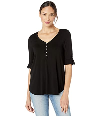 Karen Kane Henley Shirttail Tee (Black) Women