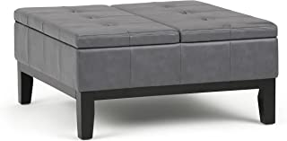 Simpli Home AXCOT-235-G Dover 36 inch Wide Contemporary Square Coffee Table Storage Ottoman in Stone Grey Faux Leather