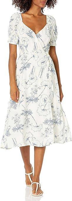 ASTR the label Women's Short Puff Sleeve Elysian V-Neck Midi Wrap Dress
