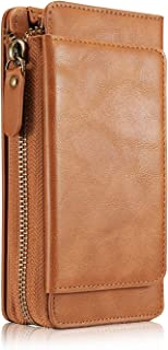 Wallet Case Compatible with iPhone 7P/8P,TACOO Soft Leather Card Holder Money Slot Hand Strap Zipper Protective Brown Cover for Apple iPhone 7Plus/8 Plus 5.5 Inch 2016/2017