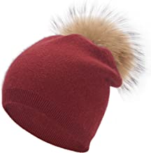 Womens Double Layer Cashmere Wool Blend Warm Winter Hat Real Fur Pom Pom Hat Baggy Slouchy Skull Knit Beanie Cap Ski Hat