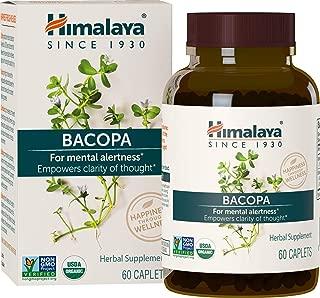 Himalaya Organic Bacopa Monnieri/Brahmi, Brain Supplement, Nootropic & Brain Booster for Enhanced Mental Focus + Memory + Clarity, 60 Caplets, 750mg, 2 Month Supply