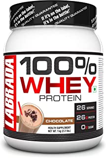 Labrada 100% Whey Protein Concentrate(Post Workout, 26g Protein, 0g Sugar, 26 Servings) - 2.2 lbs (1 kg) (Chocolate)