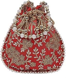 KUBER INDUSTRIES Silk Embroidered Women Potli Bag (Red), 20x22x5 CM