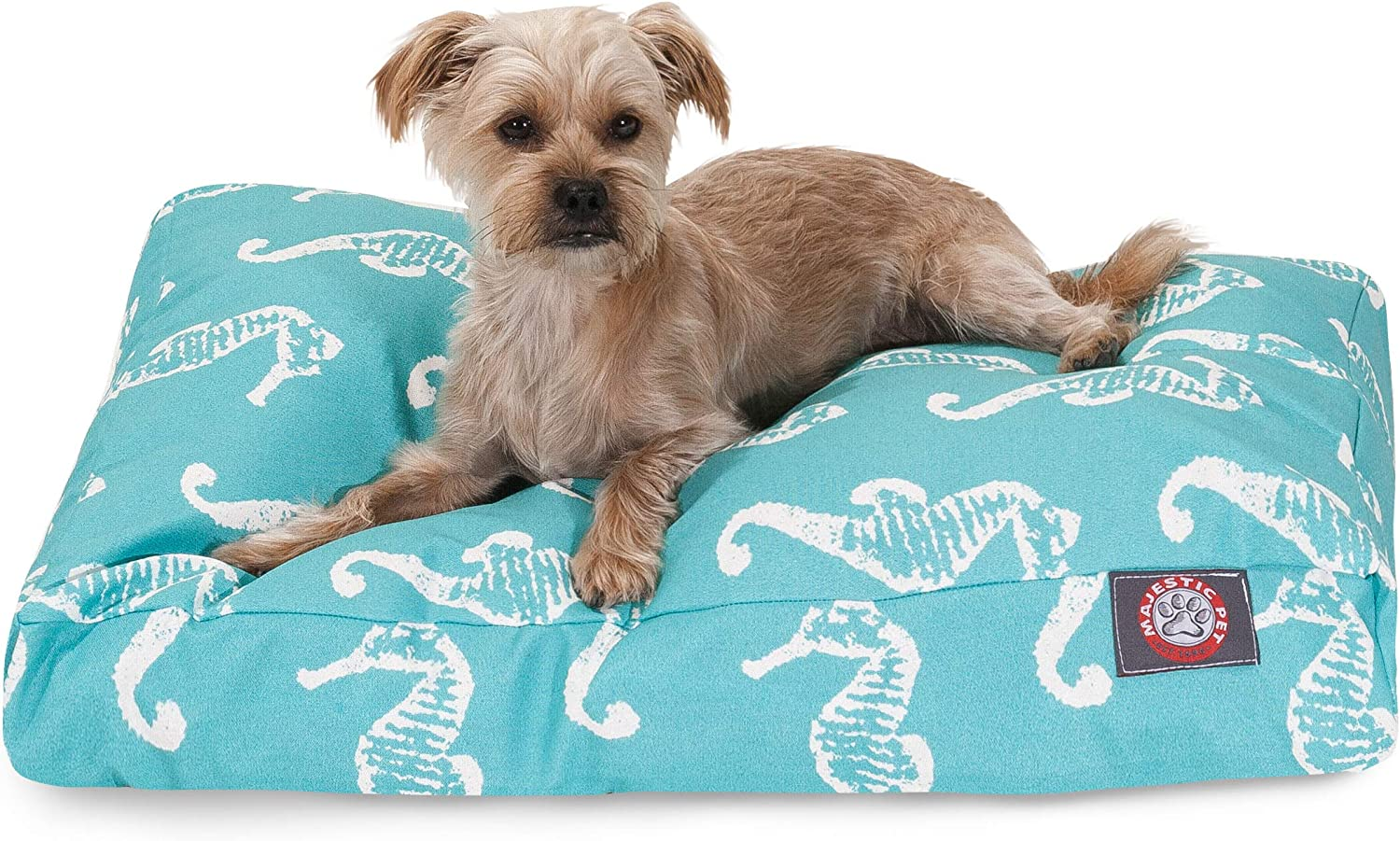Majestic Pet Teal Sea Horse Small Rectangle Indoor Outdoor Pet Dog Bed With Removable Washable Cover Products