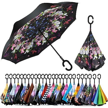 C-Type Handle Umbrella Long Handle Umbrella Anti-UV Waterproof and Windproof Straight Umbrella Butterfly Reverse Umbrella Double-Layer Automatic Folding Protection Umbrella
