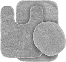 3pc Solid Silver/Light Grey Non Slip Bath Rug Set for Bathroom U-Shaped Contour Rug, Mat and Toilet Lid Cover New
