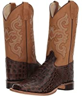 Old West Kids Boots - Brown Croc Print Square Toe (Big Kid)