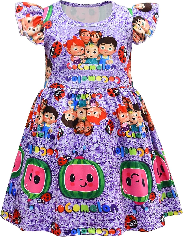 Toddler Girls Co-Co-Melon Dress Baby Girls Sleeveless Cartoon Milksilk Apparel for 1-7 Years