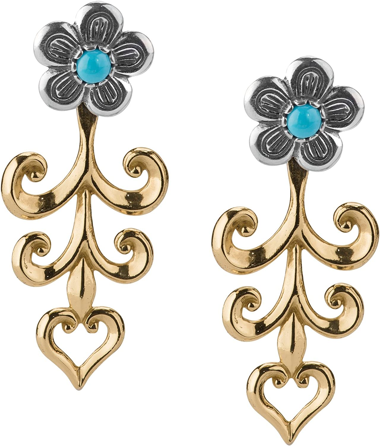 American West Sterling and Brass Ja Quality inspection Blue Now free shipping Turquoise Flower Dangle