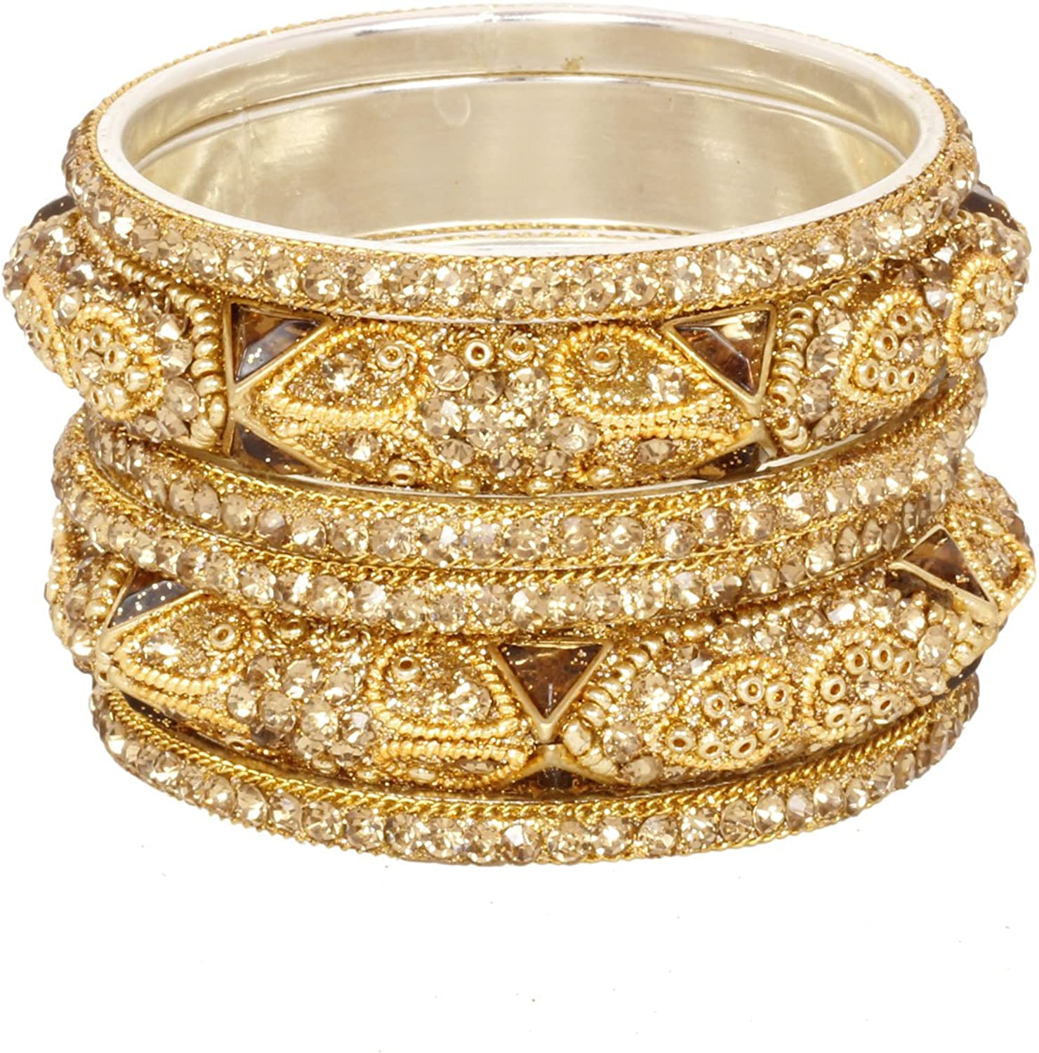 Sukh Collection Jewellery Bollywood Shinning Partywear Ethnic Golden Crystal Lac Stone 6pc Bangle Bracelet Traditional Wedding Kada Bangles For Women Indian DesignerJewelry