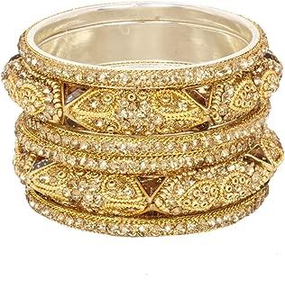 Ratna Indian Bollywood Ethnic Golden Stone Crystal Bangle Bracelet Set Traditional Partywear Kada Bangle Set Wedding Costume Jewelry