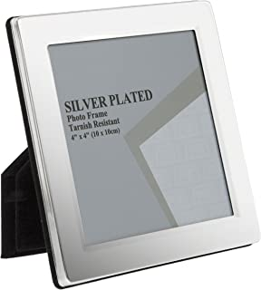 Viceni Flat Edge Photo Frame, 4 by 4-Inch, Silver Plated, 4 by 4
