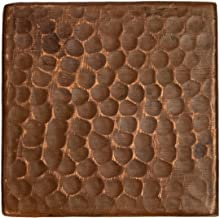 Premier Copper Products T3DBH_PKG4 3-Inch by 3-Inch Hammered Copper Tile - Quantity 4, Oil Rubbed Bronze