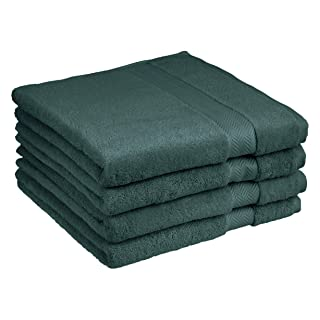 AmazonBasics Egyptian Cotton Bath Towel - 4-Pack, Faded Forest
