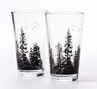 Pint Glasses by Black Lantern – Handmade Craft Beer Glasses and Bar Glassware – Pine Tree Forest Design (Set of Two 16oz. ...