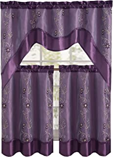 Daphne Embroidered Kitchen Curtain Set By Victoria Classics - Assorted Colors (Purple) 3 pieces one valance 57