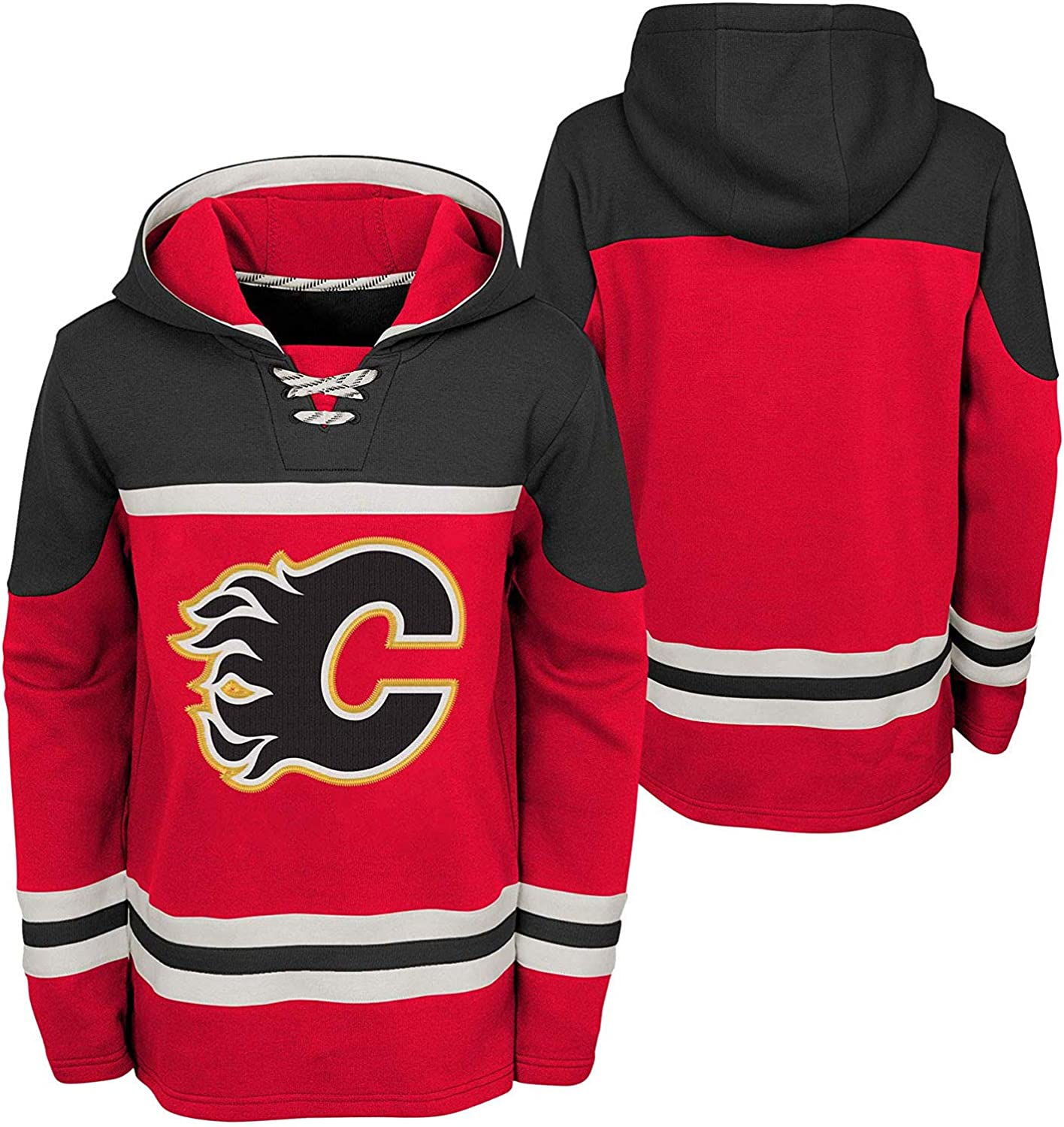Outerstuff Calgary Flames Youth Asset Lace-Up Pullover Fleece Hoodie