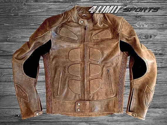 4limit Sports Herren Motorradjacke Leder Streetbandit Biker Rocker Motorrad Jacke Lederjacke Vintage Braun Auto