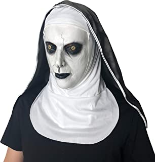 MCSY The Nun Mask Horror Props Scary Cosplay with Hood for Halloween Party