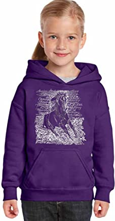 2e2e01f013da9e LA POP ART Girl s Word Art Hooded Sweatshirt - Popular Horse Breeds