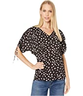 Kate Spade New York - Mallow Dot Ruched Sleeve Top