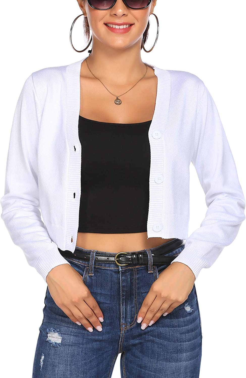 HOTLOOX Women's Long Sleeve Ribbed Cropped Cardigan V Neck Button Down Knitwear Shrug Jacket Sweater Tops S-XXL